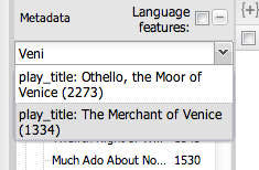 Quickly selecting 'The Merchant of Venice' using the auto-suggest box