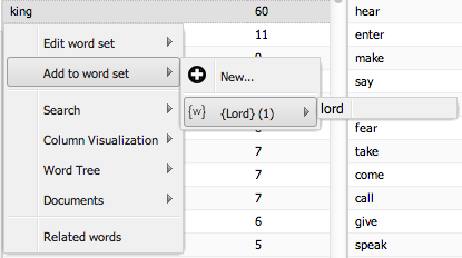 Adding 'king' to the 'lord' word set through the word menu