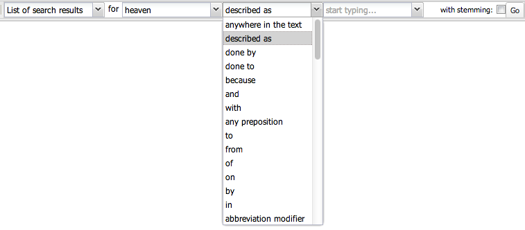 The grammatical search options in WordSeer