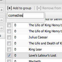 Adding plays to a new document set called 'comedies'