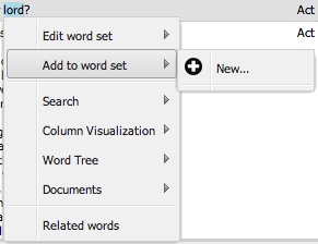 The word set options in the word menu.
