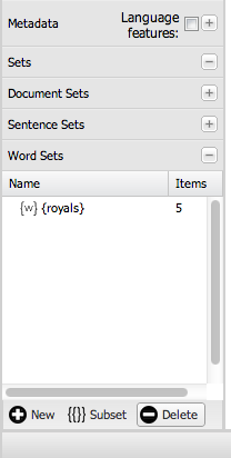 The Word Sets pane allows you to create, delete, and edit word sets too.