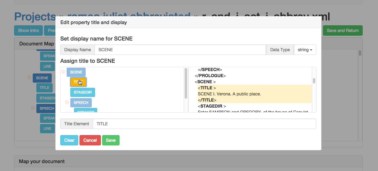 Selecting from the XML for Shakespeare.