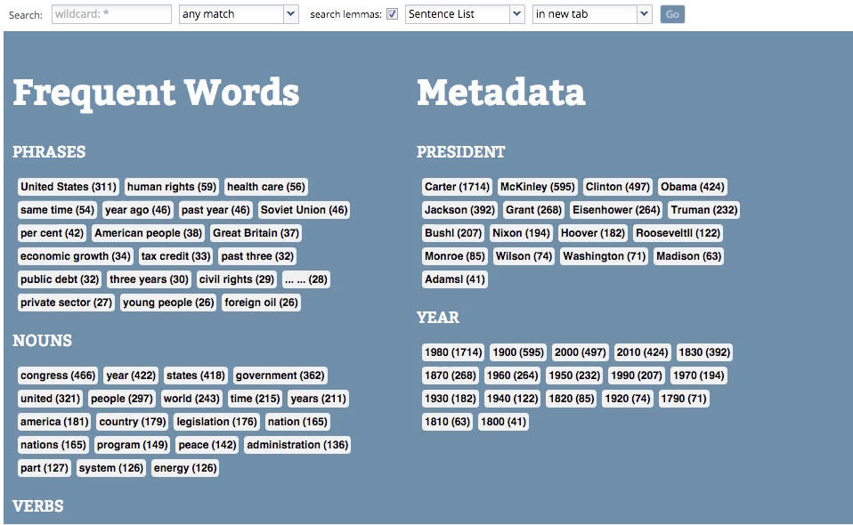 Starting page for the WordSeer instance created by the XML selection tool.